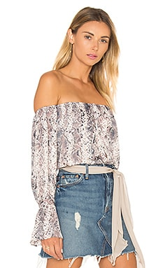 L'Academie The Off Shoulder Blouse in Snake