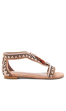 Beaded Sandal in Light Brown