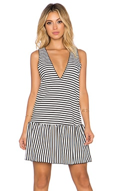 The LDRS Drop Waist Striped Dress in Black & White