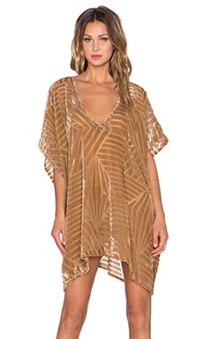The LDRS Velvet Chevron Caftan Dress in brown