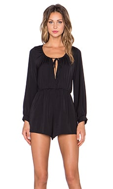 The LDRS Tie Front Long Sleeve Romper in Black
