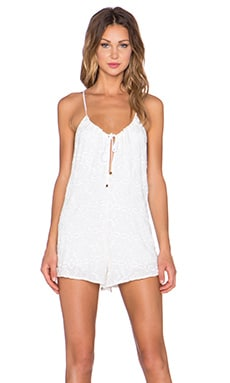 The LDRS Embroidered Romper in Ivory