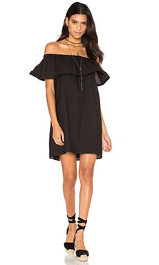 Line & Dot Concorde Ruffle Dress in Black