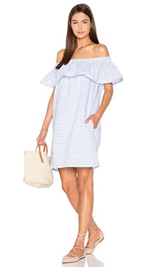 Lea Ruffle Mini Dress en French Blue