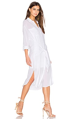 Andria Tied Shirt Dress in White