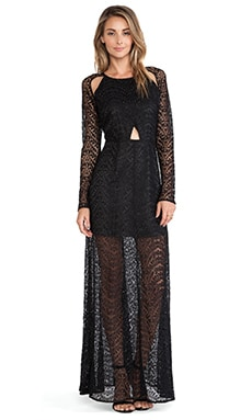Line & Dot Love Lace Maxi Dress in Black