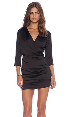 Line & Dot Gianni Ruched Mini Dress in Black