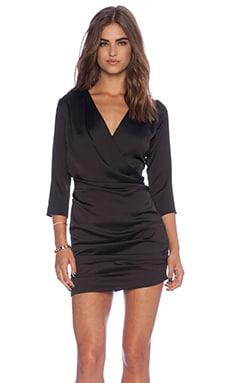 Line & Dot Gianni Ruched Mini Dress in Black