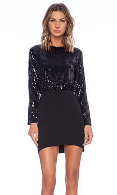 Line & Dot Linda Sequin Mini Dress in Black