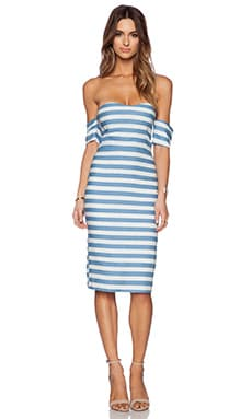 Line & Dot Inez Strapless Dress in Denim Stripe