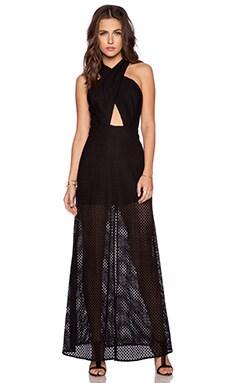 Line & Dot Spring Life Cross Neck Dress in Black