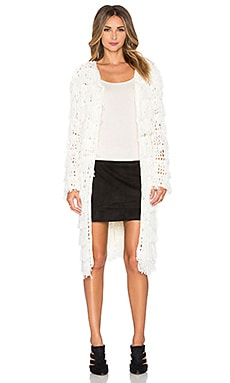 Line & Dot Marie Fringe Cardigan in Off White