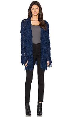 Line & Dot Promenade Fringe Cardigan in Navy