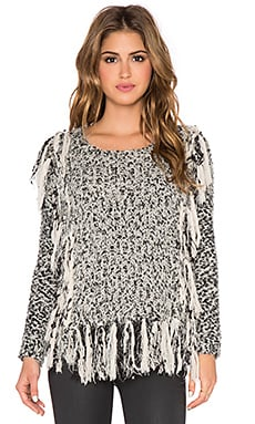 Line & Dot Jeanne Fringe Sweater in Black & Cream