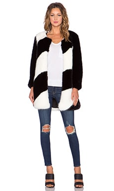 Line & Dot Mauvais Garcon Faux Fur Coat in Black & White