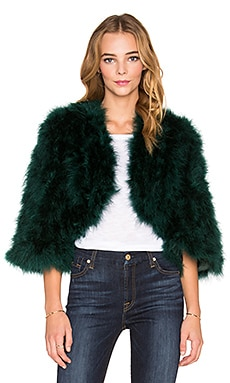 Boheme Marabou Feather Jacket in Pine