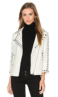 Stud Moto Jacket in White