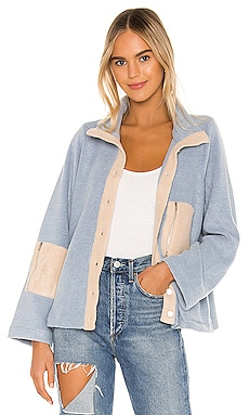 Calli Contrast Fleece Jacket Line & Dot $120