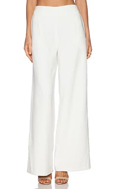 Line & Dot Luxe Wide Leg Trouser in White