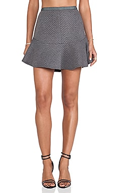 Line & Dot Daria Quilted Flare Skirt in Grey