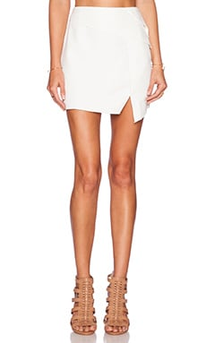 Line & Dot Gravity Asymmetrical Skirt in White