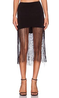Line & Dot Gloss Fringe Skirt in Black