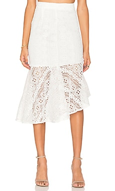 Line & Dot Promenade Mermade Skirt in White