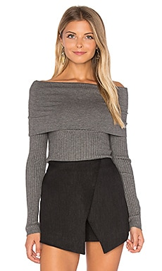 Lea Off Shoulder Top en Gris Chiné