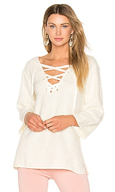 Larch Lace Up Top in Cream