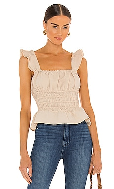 Carly Smocked Crinkled Top Line & Dot $88 NEW