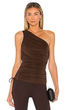 Camilla One Shoulder Ribbed Top Line & Dot $81 NEW