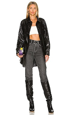 Mika Faux Leather Shacket Line & Dot $129