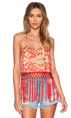 Line & Dot Embroidered Fringe Cami in Passion Red