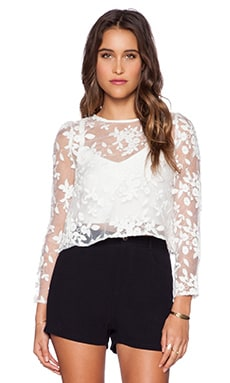 Line & Dot Embroidery Blouse in White