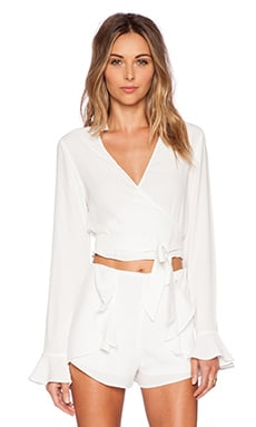 Line & Dot Ballerina Wrap Top in White