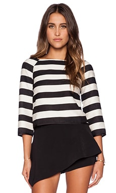 Line & Dot Lace Back Top in Manhattan Stripe