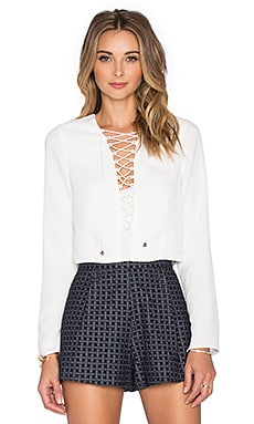 Rhone Lace Up Top in White
