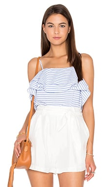 Lea Ruffle Top en French Blue