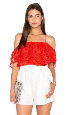 Line & Dot Palais De Ruffle Top in Flame Red