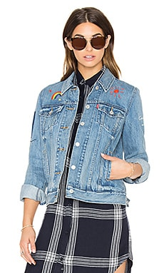 LEVI'S Boyfriend Embroidered Trucker Jacket in Heirloom