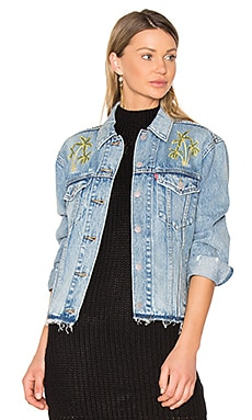 Palm Embroidered Denim Jacket in Medium Blue