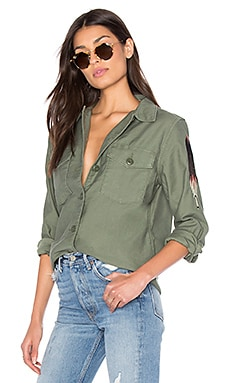 Military Shirt Jacket in Bronze Green