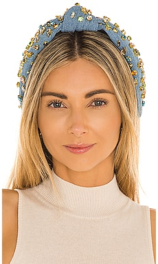 Denim Candy Jeweled Knotted Headband Lele Sadoughi $198
