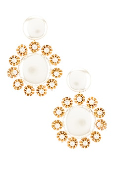 Round Plumeria Trim Earrings Lele Sadoughi $225