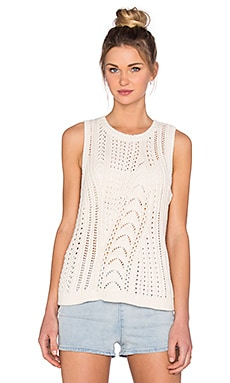 LEO & SAGE Cable Knit Vest Pullover in Ivory