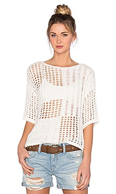 LEO & SAGE Patchwork Pullover in White