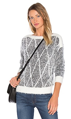 Crew Neck Sweater in Black & White Jacquard