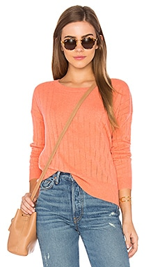 Open Stitched Sweater in Coral Heather