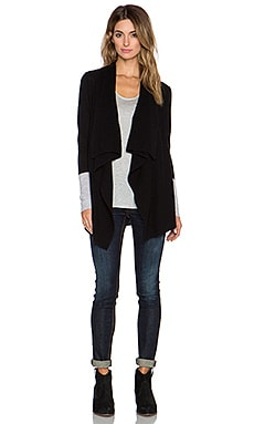 LEO & SAGE Open Cardigan in Black & Light Heather Grey