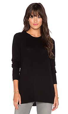 LEO & SAGE Side Slit Crew Neck Sweater in Black